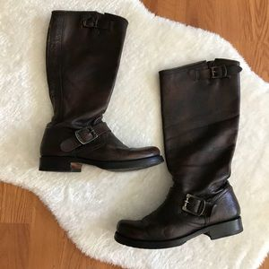 FRYE Brown Leather Buckle Boots